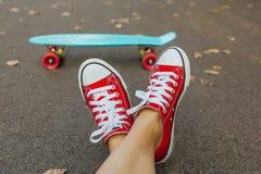 Κλείστε επάνω των ποδιών και του μπλε πίνακα σαλαχιών πενών με τις ρόδινες ρόδες Στοκ φωτογραφίες με δικαίωμα ελεύθερης χρήσης