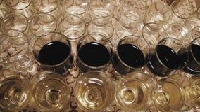 Κλείστε επάνω των ποτηριών του κρασιού σε έναν πίνακα κατά τη διάρκεια μιας δοκιμής κρασιού απόθεμα βίντεο