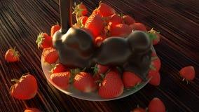 Κλείστε επάνω των φρέσκων φραουλών στη σοκολάτα στο σπίτι φιλμ μικρού μήκους