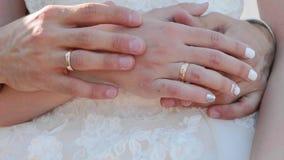 Κλείστε επάνω των χεριών newlyweds με τα δαχτυλίδια αγγίζει ήπια ο ένας τον άλλον απόθεμα βίντεο