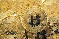 Κλείστε επάνω χρυσό Bitcoin, εκλεκτικός που στρέφεται Ηλεκτρονική έννοια χρημάτων και χρηματοδότησης Στοκ φωτογραφίες με δικαίωμα ελεύθερης χρήσης