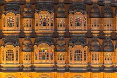 Κλείστε επάνω Hawa Mahal, παλάτι των ανέμων τη νύχτα Στοκ Εικόνα