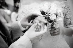 κλείστε παντρεμένος πρόσφατα βάζοντας τα δαχτυλίδια επάνω Στοκ φωτογραφίες με δικαίωμα ελεύθερης χρήσης