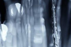 Κλείστε το επάνω φωτισμένο χειμερινό παγάκι τη νύχτα Στοκ φωτογραφία με δικαίωμα ελεύθερης χρήσης