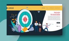 Κλειδί για το πρότυπο ιστοσελίδας επιτεύγματος στόχου επιτυχίας ελεύθερη απεικόνιση δικαιώματος