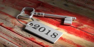 Κλειδί με το έτος 2018 στο κόκκινο ξύλινο υπόβαθρο τρισδιάστατη απεικόνιση απεικόνιση αποθεμάτων