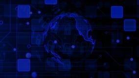 Κλειδαριά τεχνολογίας γύρω από τη γη Σκοτεινό επιχειρησιακό υπόβαθρο Ασφάλεια Διαδικτύου φιλμ μικρού μήκους