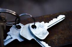 Κλειδιά στο σκουριασμένο μέταλλο Τα κλειδιά η δέσμη κλειδώνει το λευκό Τα κλειδιά για το διαμέρισμα στοκ εικόνες