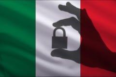 Κλειστή το Μεξικό κλειδαριά στο χέρι Η εισαγωγή και η εξαγωγή των εμπορευμάτων από την παγκόσμια αγορά του εμπορίου είναι απαγορε απεικόνιση αποθεμάτων