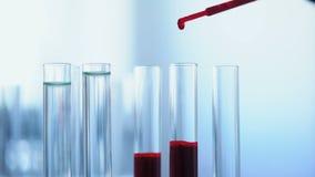 Κλινικό βοηθητικό αναλύοντας δείγμα αίματος, εργαστηριακό πείραμα, υγειονομική περίθαλψη απόθεμα βίντεο