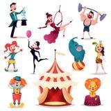 Κλόουν και μάγος κοντά στη σκηνή ή το στρατόπεδο τσίρκων διανυσματική απεικόνιση