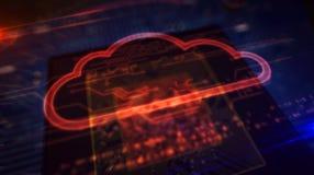 ΚΜΕ εν πλω με την επίδειξη ολογραμμάτων σύννεφων διανυσματική απεικόνιση