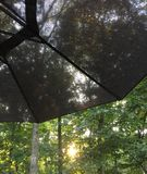 Κοίταγμα μέσω μιας γκρίζας ομπρέλας Στοκ Εικόνες
