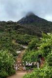 Κοίταγμα προς τη σύνοδο κορυφής της αιχμής του Adam (Sri Pada) στη Σρι Λάνκα στοκ φωτογραφίες