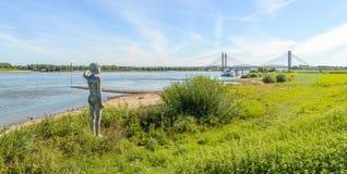 Κοίτες πλημμυρών του ολλανδικού ποταμού Waal κοντά σε Zaltbommel Στοκ φωτογραφία με δικαίωμα ελεύθερης χρήσης
