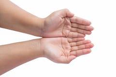 Κοίλα Outstretched χέρια της νέας γυναίκας Στοκ εικόνα με δικαίωμα ελεύθερης χρήσης