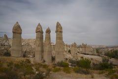 Κοιλάδα αγάπης Μοναδική γεωλογική ερωτευμένη κοιλάδα σχηματισμών σε Cappadocia, δημοφιλής προορισμός ταξιδιού στην Τουρκία στοκ φωτογραφίες με δικαίωμα ελεύθερης χρήσης