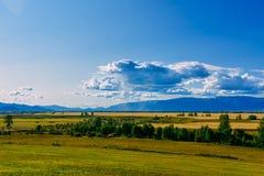 Κοιλάδα βουνών, χρυσό τοπίο πανοράματος φθινοπώρου, Σιβηρία, Δημοκρατ στοκ εικόνες