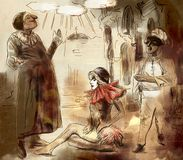 Κοιλάδα ` Commedia arte - μια χρωματισμένη χέρι απεικόνιση διανυσματική απεικόνιση