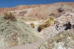 Κοιλάδα Valle Arcoiris ουράνιων τόξων, στην έρημο Atacama στη Χιλή Οι ορυκτοί πλούσιοι βράχοι των βουνών Domeyko δίνουν την κοιλά Στοκ Φωτογραφίες