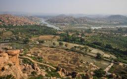 Κοιλάδες Hampi ` s από το ναό Hanuman, Hill Anjanadri, Hampi, Karnataka, Ινδία Στοκ Φωτογραφία