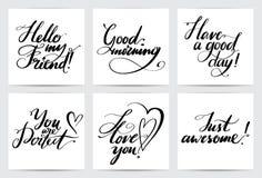 Κοινές φράσεις εγγραφής Συρμένο χέρι δημιουργικό σύνολο καλλιγραφίας Διανυσματική συλλογή καρτών καλλιγραφίας για το χαιρετισμό δ Στοκ Φωτογραφία