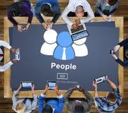Κοινοτική έννοια πληροφοριών αρχικών σελίδων εικονιδίων ανθρώπων Στοκ Φωτογραφία