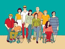 Κοινοτική ανάπηρη αναπηρία αναπηρικών καρεκλών ανθρώπων ομάδας διανυσματική απεικόνιση