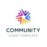 Κοινοτικό λογότυπο Κοινωνικό λογότυπο ομαδικής εργασίας Σύμβολο συνεργασίας Πρότυπο συμβόλων επικοινωνίας ανθρώπων Στοκ Εικόνες