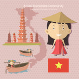 Κοινοτικό AEC Βιετνάμ οικονομικών της ASEAN Στοκ εικόνα με δικαίωμα ελεύθερης χρήσης