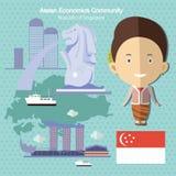 Κοινοτικό AEC Σιγκαπούρη οικονομικών της ASEAN Στοκ Εικόνα