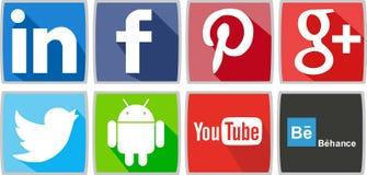 Κοινωνικά δίκτυα ή κοινωνικά εικονίδια μέσων για τον υπολογιστή ή για το τηλέφωνο απεικόνιση αποθεμάτων
