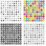 100 κοινωνικά εικονίδια μέσων καθορισμένα τη διανυσματική παραλλαγή Στοκ Εικόνα