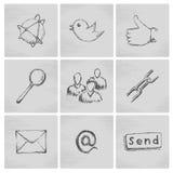 Κοινωνικά εικονίδια δικτύων σκίτσων Στοκ φωτογραφίες με δικαίωμα ελεύθερης χρήσης