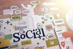 Κοινωνικά μέσα και κοινωνικό σχέδιο έννοιας δικτύων Στοκ Εικόνα
