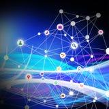 Κοινωνικά μέσα με την τεχνολογία τηλεπικοινωνιών, στην αφηρημένη πλάτη Στοκ Φωτογραφία