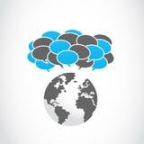 Κοινωνικά μέσα που μοιράζονται τις σκεπτόμενες φυσαλίδες Στοκ εικόνα με δικαίωμα ελεύθερης χρήσης