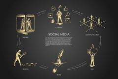Κοινωνικά μέσα, φίλοι, περιεχόμενο, blog, αναζήτηση, όπως απεικόνιση αποθεμάτων