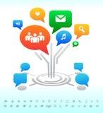 Κοινωνικά μέσα. Φυσαλίδες συνομιλίας φόρουμ δέντρων. Εικονίδια διανυσματική απεικόνιση