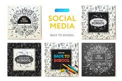 Κοινωνικά πρότυπα μέσων πίσω στο σχολείο, την εκπαίδευση και την εκμάθηση Περιγραμματικό σημειωματάριο doodles με την εγγραφή Σύγ Στοκ Εικόνες