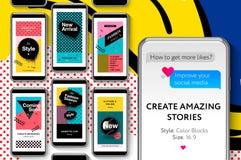 Κοινωνικά πρότυπα μέσων της Μέμφιδας με τα γεωμετρικά στοιχεία, εμβλήματα promo μόδας για on-line να ψωνίσει με το λαϊκό σχέδιο τ Στοκ Εικόνες