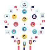 Κοινωνικά στοιχεία παγκόσμιων επικοινωνιών έννοιας δικτύων infographic Στοκ Εικόνες