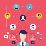 Κοινωνικά στοιχεία παγκόσμιων επικοινωνιών έννοιας δικτύων infographic Στοκ Εικόνα