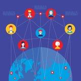 Κοινωνικά στοιχεία παγκόσμιων επικοινωνιών έννοιας δικτύων infographic Στοκ Φωτογραφία
