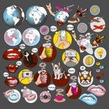 Κοινωνικά σύμβολα δικτύων και ταξιδιού καθορισμένα απεικόνιση αποθεμάτων