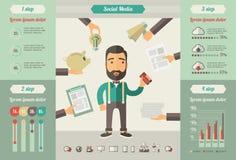 Κοινωνικά infographic στοιχεία μέσων Στοκ φωτογραφία με δικαίωμα ελεύθερης χρήσης