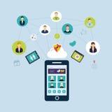 Κοινωνικές δίκτυο και ομαδική εργασία διανυσματική απεικόνιση