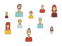Κοινωνικές δίκτυο κινούμενων σχεδίων/σύνδεση ανθρώπων απεικόνιση αποθεμάτων