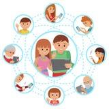 Κοινωνικές επικοινωνίες μέσων Ζεύγος γυναικών ανδρών που καλεί με την ταμπλέτα στους παππούδες και γιαγιάδες και τους φίλους γονέ διανυσματική απεικόνιση