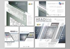 Κοινωνικές θέσεις μέσων καθορισμένες Πρότυπα επιχειρησιακού σχεδίου Διανυσματικά σχεδιαγράμματα με τα δημοφιλή σχήματα Σχέδιο χημ Στοκ Εικόνες